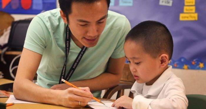 Teacher and Student at Vietnamese Dual Immersion Program at White Center Heights