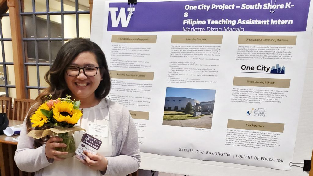 Undergraduate Intern Mariette Manalo at the ECO Capstone Symposium